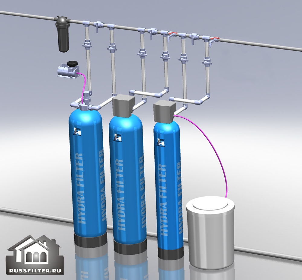 Водоподготовка для коттеджа #15. 800 л/час (1-2 открытых крана) Растворенное железо до 2-2,5 мг/л, жесткость до 10